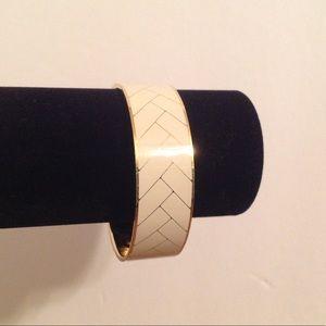 J Crew Gold Tone Wide Ivory Bangle Bracelet